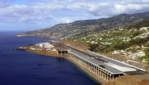 Madeira Airport Portugal Part of the runway is built on a platform supported by  columns