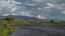 Madison river flowing next to Ennis Montana