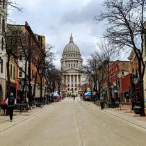 Madison WI Capitol during the first Farmers Market of