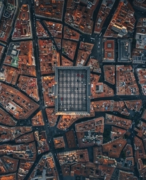 Madrids Plaza Mayor from the sky