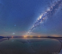 Magellanic Cloud galaxies and the Milky Way seen above the Salar de Atacama salt flat and reflected in the Laguna Cejar in northern Chile -image mosaic panorama by Alex Tudorica
