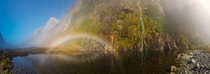 Magical misty lake on the Milford Track Prairie Lake New Zealand Saw something I hadnt seen before a rainbow eye  x