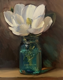 Magnolia in Vintage Ball Jar - my oil painting