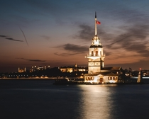 Maidens Tower at night Istanbul
