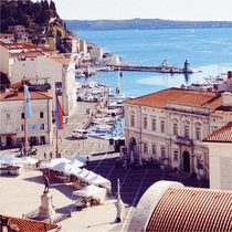 Main square and marina in Piran Slovenia