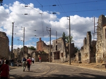 Main street of Oradour-sur-Glane France - destroyed by Nazis along with its civilian population in  preserved as a memorial