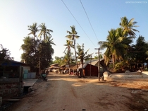 Main street through Hanlin Myanmar