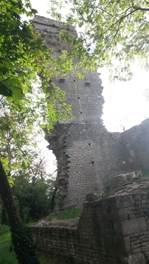 Main tower of an abandonned th century fortress Burgundy France
