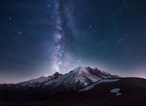 Make a Wish -- Mount Rainier and Milky Way with some air glow happening on a semi-misty late-summer evening
