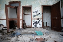 Makeshift bedroom in abandoned post office Gary Indiana OC