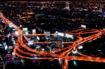 Makkasan Interchange at night Bangkok Thailand