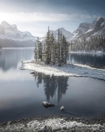 Maligne Lake with a fresh dusting of snow
