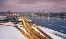 Malookhtinsky Bridge one of  bridges in Saint Petersburg  Russia