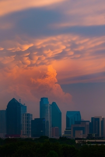 Mammatus clouds formed up over Downtown Dallas