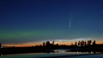 Managed to capture comet NEOWISE and the Aurora Borealis up in the Canadian Prairies