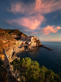 Manarola at sunset Province of La Spezia Italy