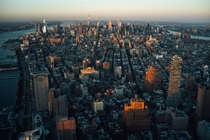 Manhattan at sunset seen from One World Observatory