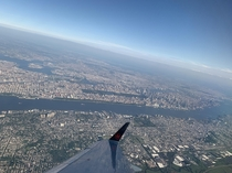 Manhattan from the sky took off at Newark