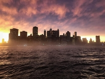 Manhattan Sunset after a massive rainstorm Taken from Brooklyn Pier  while on assignment iPhone  Unreal light May