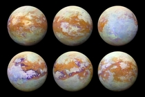Maps showing the surface features of Titan created using infrared images from Cassini  NASAJPL