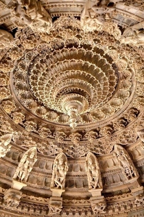 Marble carvings on the ceiling of Dilawar Jain Temple India