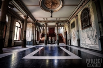 Marble clad entrance hall of an abandoned chateau in Belgium by Projct Myhm