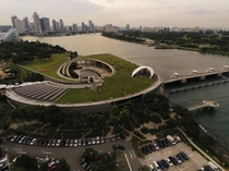 Marina Barrage Singapore on a cloudy day