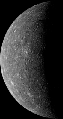 Mariner s first image of Mercury During its flight Mariner s trajectory brought it behind Mercury where this image was taken in order to acquire important measurements This picture was acquired from a distance of  miles from the surface of Mercury