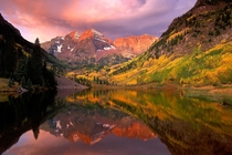 Maroon Bells at sunrise Aspen Colorado