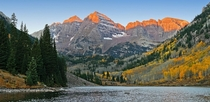 Maroon Bells at Sunrise Elk Range near Aspen Colorado By lastra
