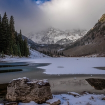 Maroon Bells near Aspen CO on the final morning before the road was closed