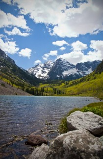 Maroon Bells over Maroon Lake in Aspen CO