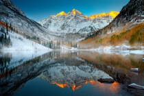 Maroon Bells Sunrise In Winter - Maroon Bells Wilderness Aspen Colorado  by Kevin McNeal