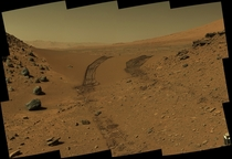 Mars Curiosity Rover tracks through Dingo Gap in Gale Crater