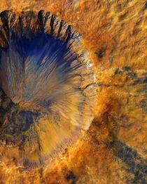 Mars Reconnaissance Orbiter captured a fresh impact crater near Sirenum Fossae a trough in the Memnonia quadrangle of Mars