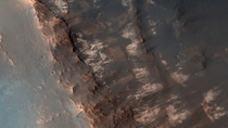 Martian Terrain - Layered Bedrock near Oyama Crater