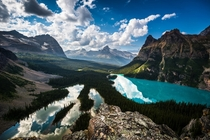 Mary Lake and Lake OHara from the Opabin Prospect British Columbia Photo by Christian Thamm xpost from rTrueNorthPictures