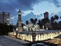 Masjid Jamek in the heart of Kuala Lumpur Malaysia  As viewed from the Monorail station of the same name