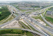 Massive construction at an intersection to double one of the highways Rotterdam The Netherlands