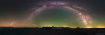 Massive  degree panorama showcasing Comet NEOWISE the Milky Way and green airglow