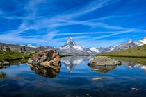 Matterhorn mirrored in the Stellisee Switzerland