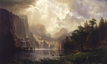 Maybe paintings should be added to rearthporn Sierra Nevada Mountains California Done by Albert Bierstadt in