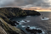 Maywick Cliffs at sunset Shetland Islands