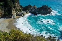 McWay Falls and a Hawk at Big Sur CA