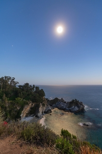 McWay Falls Under the Moonlit Sky
