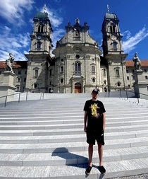 Me at one of the most beautiful building I every visited Einsiedeln Abbey Kanton Schwyz Switzerland