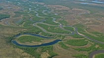 Meandering river near Katmai National Park Alaska