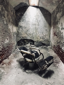 Medical chair in a cell at Eastern State Penitentiary in Philadelphia