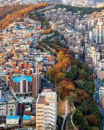 Medieval City Walls dividing neighborhoods near downtown Seoul South Korea