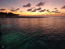Meeru Island Maldives sunset from an overwater villa beautiful mix of colour in the sea